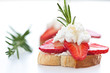crostini with strawberries and goat cheese with rosemary
