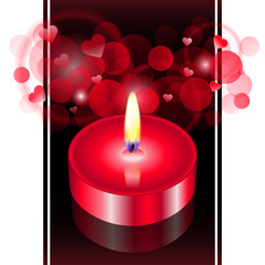 """A romantic atmosphere"" - Vector illustration of red candle"