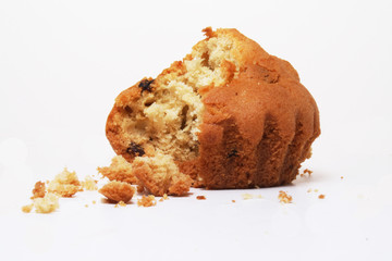Bitten muffin with crumbs