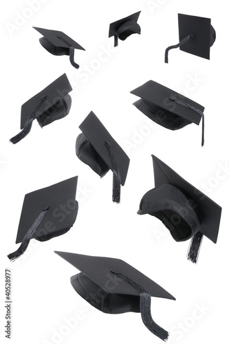 Graduation Caps On White