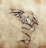 Funny little dragon. Sketch of tattoo art, stylish fantasy monst