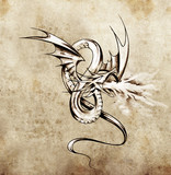Medieval dragon figure. Sketch of tattoo art over antique paper