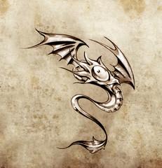Funny little dragon. Sketch of tattoo art, stylish fantasy monst