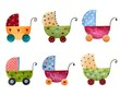 Artwork. Set of baby prams
