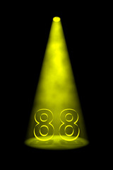 Number 88 illuminated with yellow spotlight