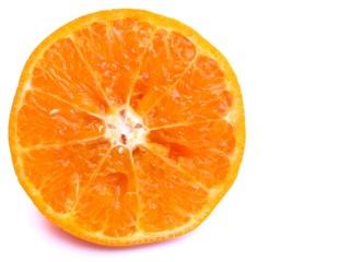 Image of sliced juicy orange isolated on white background