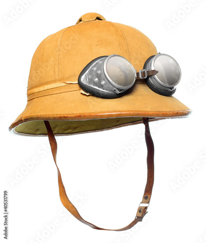 Retro cork helmet for tropical destinations.