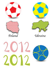 maps of poland and ukraine - hosts of euro football cup - with s