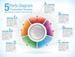 Multicolour segmented wheel template for presentations