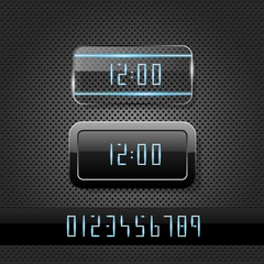 Futuristic clock on metal background
