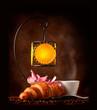 Fototapeta Rogalik - śniadanie - Kawa / Herbata / Czekolada