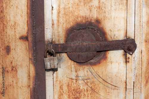 Close up of a rusty vintage padlock