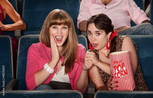 Amazed Ladies In Theater