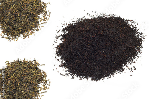 black and green tea on a white background