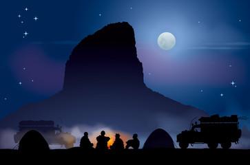 Bivouac au désert - Clair de lune