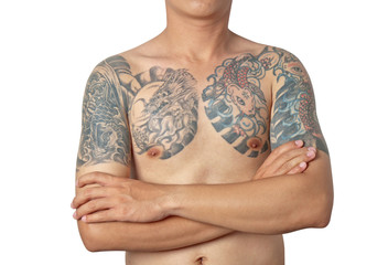 Asian guy with a tattoo posing