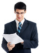 Businessman with documents, isolated