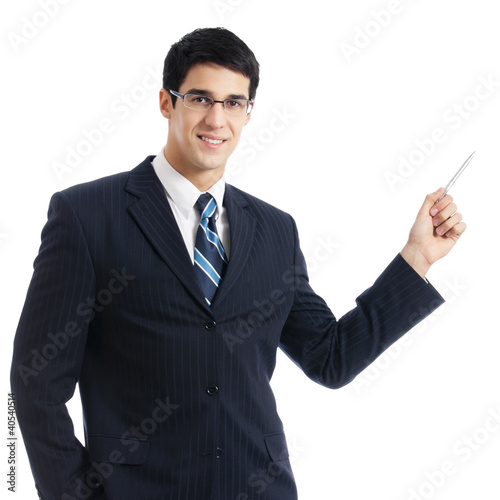 Business man showing, isolated