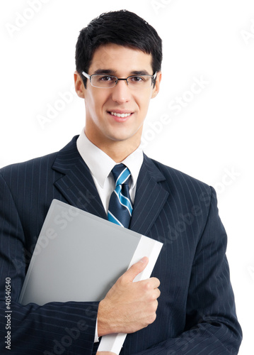 Businessman with gray folder, isolated