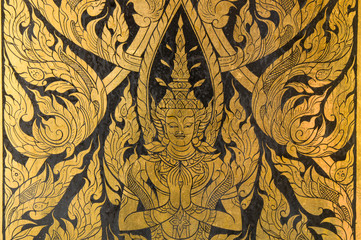 Thai art style on wall, take photo from temple in  Thailand