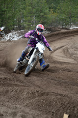 Departure with the acceleration out of the left-turn motocross r