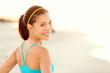 Fitness woman beach portrait