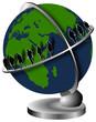 globe terrestre avec des gens