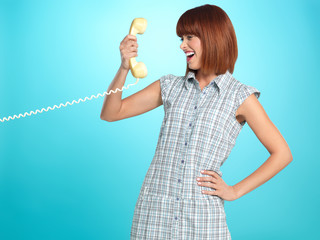 attractive young woman surprised face expression telephone
