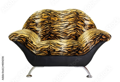armchair with tiger fur, isolated on white background