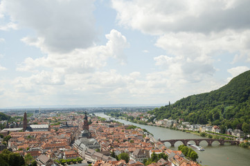 panoramic views of heidelberg cityscape in Germany