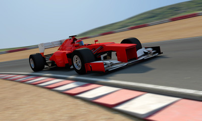 red racecar on track