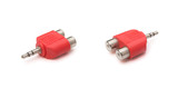 two views audio input & output plug with clipping path poster