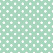 Vector pattern with white polka dots on mint background