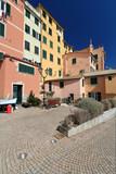 small square in Sori, Liguria, Italy