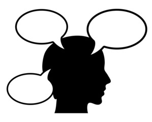 Vector thinking person with speech bubbles
