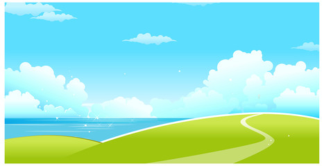 Green landscape with sea and blue sky
