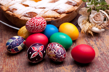 Colorful Easter Eggs And Pastiera