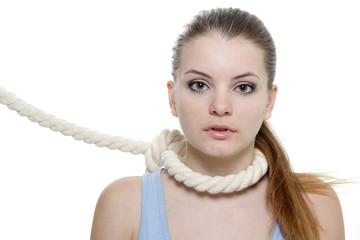 young woman with rope on her neck over white