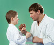 Karate master with his young student