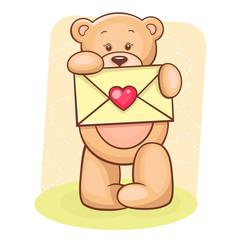 Teddy Bear holding envelope
