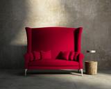 Red loveseat sofa vintage village interior, grunge wall