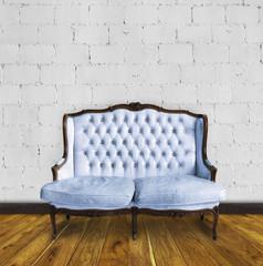 retro sofa in colorful room