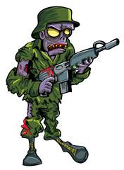 Cartoon zombie soldier with a gun