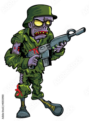 Cartoon zombie soldier with a gun
