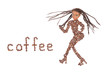 Woman figure made from coffee beans