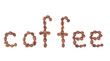 Word coffee made from coffee beans