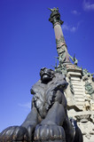 Detail of Famous Christopher Columbus' monument in Barcelona cit