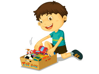 Boy with his toys