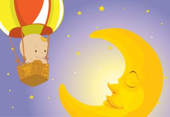 Baby visits moon