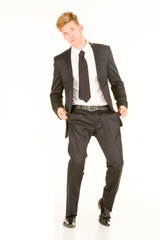 businessman with empty pockets